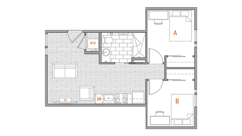 Two Bed, One Bath Floor Plan