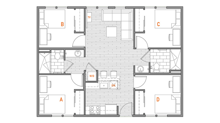 Four Bed, Two Bath Floor Plan